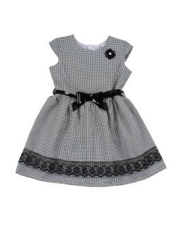 Sukienka dla dziewczynki w pepitkę z paskiem przód