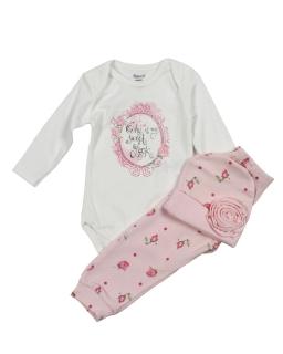 Komplet niemowlęcy trzyczęściowy dla dziewczynki
