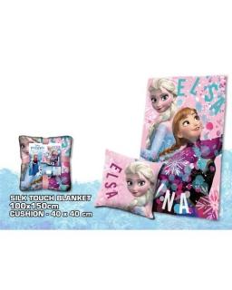 Zestaw prezentowy: koc polarowy Silk Touch i poduszka Frozen - Kraina Lodu