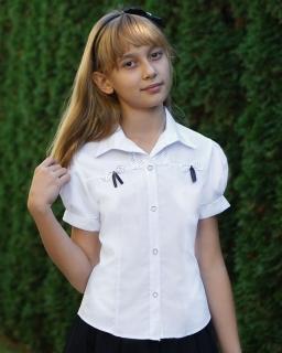Szkolna koszula z kokardkami dla dziewczynki 122-158 Melania 2 biała