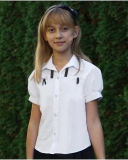 Dziewczęca koszula z krótkim rękawem 122-158 Fiona biała