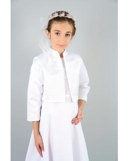 Bolerko komunijne dla dziewczynki atłasowe białe