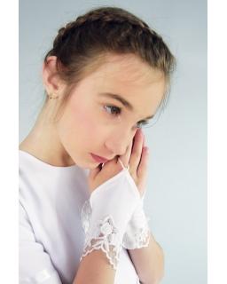 Rękawiczki komunijne dla dziewczynki na jeden palec