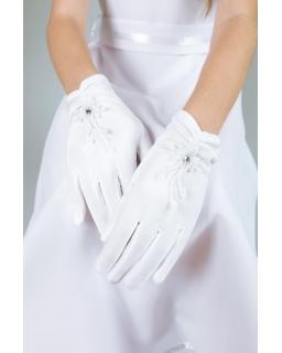 Rękawiczki komunijne dla dziewczynki białe