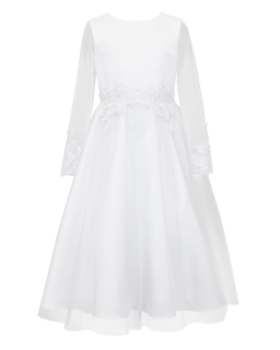 Dziewczęca sukienka pokomunijna z długimi rękawami