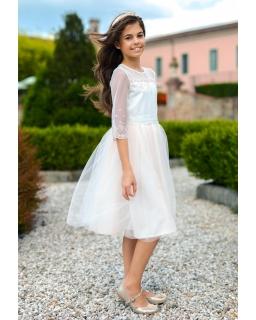 d7879fd80a Pokomunijna sukienka dla dziewczynki 128-158 7C SM 19 łososiowa