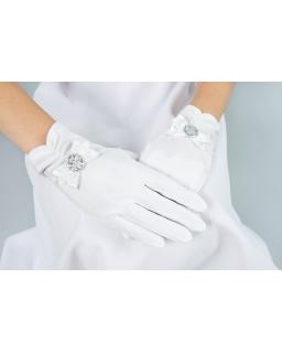 Rękawiczki komunijne dla dziewczynki z kokardką