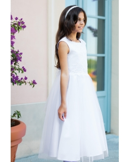 4bafdaa5a9 Sukienka z koronką dla dziewczynki 134-158 2 SM 19 biała