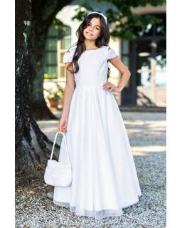 Długa sukienka dla dziewczynki 134-158 3/SM/19 biała