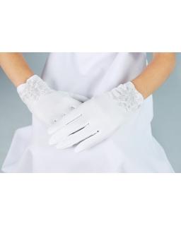 Rękawiczki komunijne dla dziewczynki z koronką