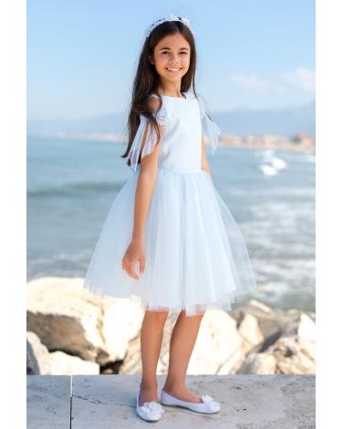 de797532da Komunijna sukienka dla dziewczynki z oryginalnym rękawem