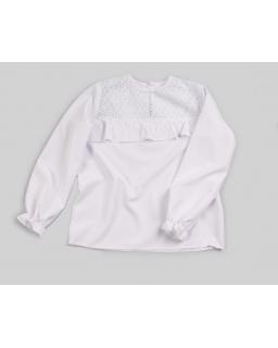 Biała bluzka dla dziewczynki z falbanką na przodzie