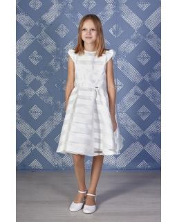 Pokomunijna sukienka w pasy 134-152 Suzan ecru