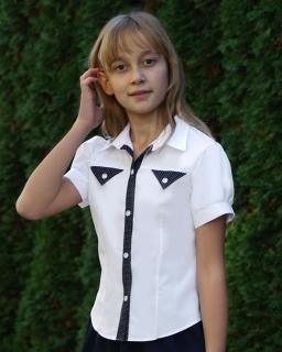 Koszula z lamówką w groszki dla dziewczynki 122-158 Iza 3 biała