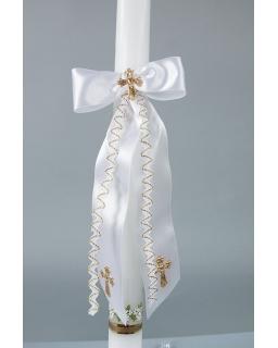 Biała atłasowa ozdoba do świecy
