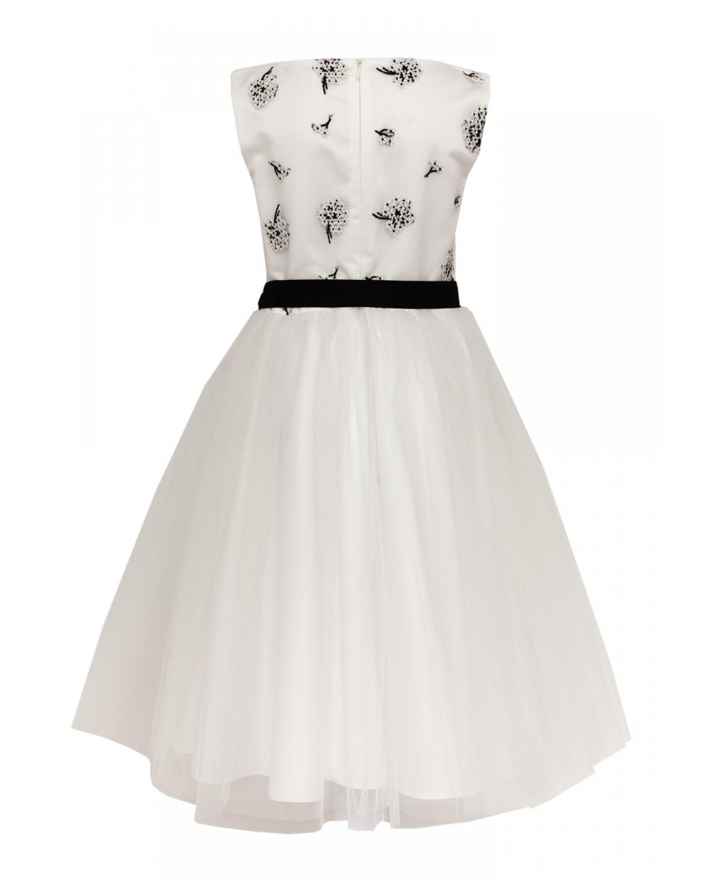 9839fa5c2b Sukienka dla dziewczynki z haftem i szarfą tył