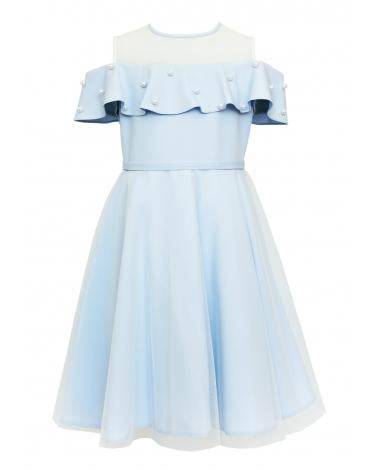c8f2d95925 ... 134-164 26C SM 19 Niebieska. Sukienka pokomunijna dla dziewczynki z  falbanką przód
