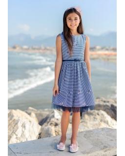 Sukienka we wzory dla dziewczynki 128-158 46/SM/19 Granatowa