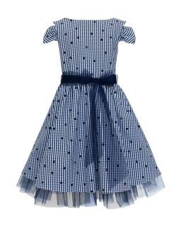 Dziewczęca sukienka w kratkę 116-146 47/SM/19 Granatowa