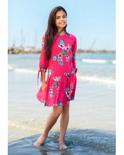 Sukienka dla dziewczynki w modne kwiaty z rękawem do łokcia
