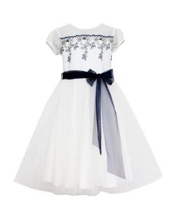 Komunijna sukienka z siateczkowym rękawem 134-164 29/SM/19 ecru