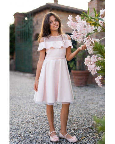2223b5b12a Pokomunijna sukienka w stylu hiszpanki z perełkami zdjęcie na modelce