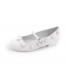 Komunijne buty z perełkami dla dziewczynki 31-38 BK54 białe