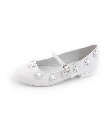 Buty komunijne dla dziewczynki z kwiatuszkami i perełkami