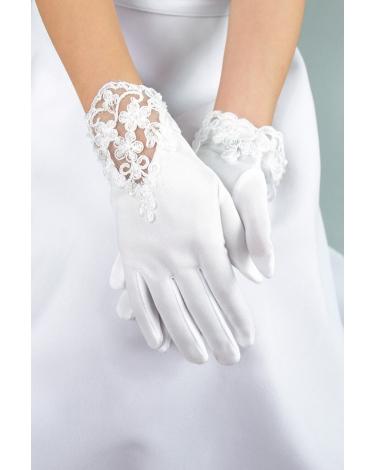 Komunijna rękawiczki z koronkową wstawką i perełkami