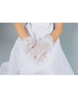 Komunijne rękawiczki z obszyciem z koronki