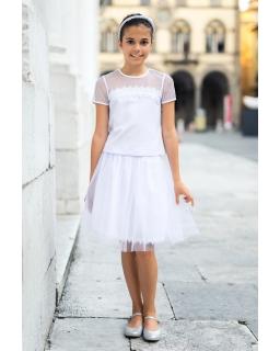 Wizytowa bluzka dla dziewczynki 104-146 33A/SM/19 Biała