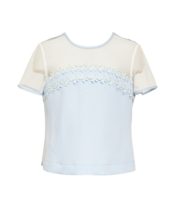 Bluzka dla dziewczynki pokomunijna z koronką przód