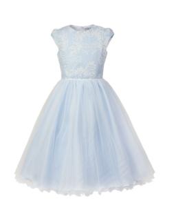 Długa rozłożysta sukienka w błękitnym kolorze