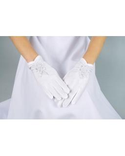 Rękawiczki komunijne z aplikackacją z koralików