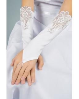 Długie rękawiczki komunijne z koronką