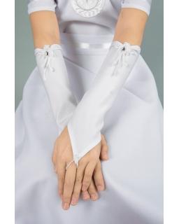 Długie rękawiczki komunijne z aplikacją