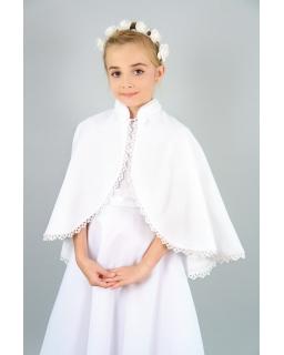Biała pelerynka komunijna obszyta haftem