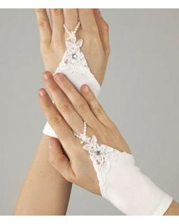 Białe rękawiczki komunijne dla dziewczynki na jeden palec