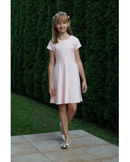 Sukienka dla dziewczynki w kolorze łososiowym z wirującym dołem