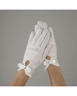 Białe rękawiczki komunijne z kokardką
