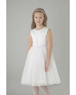 Dziewczęca sukienka komunijna z tiulem na szerokich ramiączkach