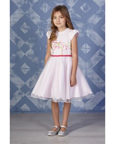 ec287892 Tiulowa sukienka z koronką 128-146 Adrianna różowa