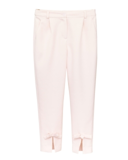 Spodnie dla dziewczynki wizytowe pokomunijne różowe przód