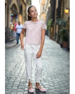 Proste spodnie dla dziewczynki 128-164 40B/SM/19 ecru