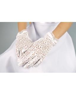 Rękawiczki komunijne z siateczki dla dziewczynki