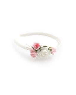 Opaska komunijna z pięknymi kwiatami