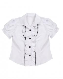 Biała bluzka dla dziewczynki z żabotem na dekolcie