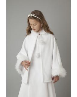 Peleryna komunijna dla dziewczynki polarowa obszyta futerkiem