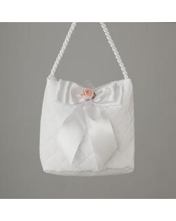 Pikowana torebka komunijna dla dziewczynki na sznurku