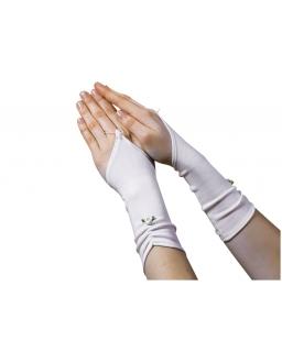 Komunijne rękawiczki z marszczeniem RK06